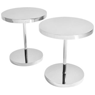 Modern Polished Stainless Steel Side Tables - a Pair For Sale