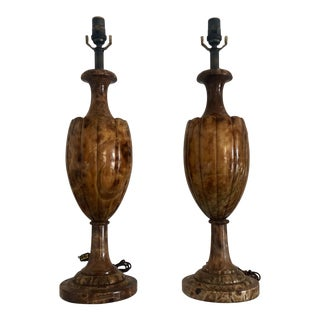 1960s Italian Traditional Brown Marble Lamps - a Pair For Sale