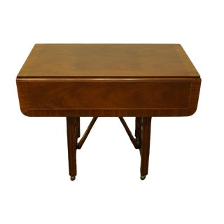"""20th Century Traditional Baker Furniture Banded Wood Mahogany Style Drop Leaf 36"""" Occasional Table For Sale"""