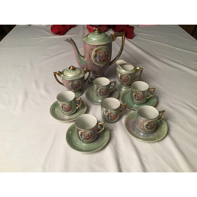 19th Century Vintage Hand Painted Angelica Kauffmann Style Tea Service - Set of 14 For Sale - Image 5 of 11