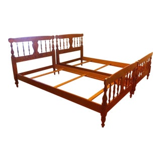 Ethan Allen American Traditional Maple Twin Beds -A Pair