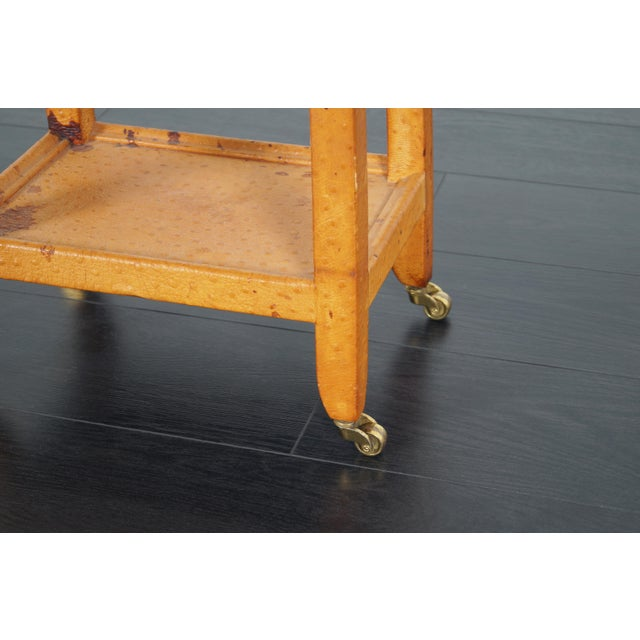Yellow Vintage Ostrich Leather Table by Karl Springer For Sale - Image 8 of 9