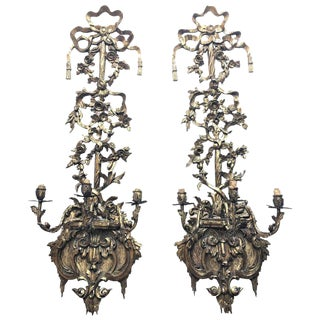 19th Century Regency Carved Giltwood Large Sconces or Wall Appliques - a Pair