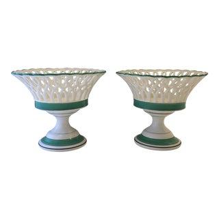Green & White Porcelain Pedestal Bowls - a Pair