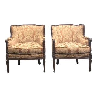 Brocade French Louis XVI Style Chairs - a Pair For Sale