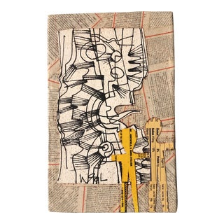 "Original Contemporary Wayne Cunningham Abstract ""Hands Across America "" Collaged Pen & Ink Drawing For Sale"