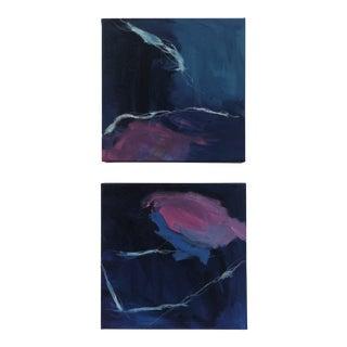 """Cheryl Troxel Original """"Dancing Squid Diptych"""" Paintings - Set of 2 For Sale"""