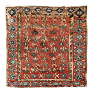 "Antique Caucasian Shirvan Rug 3'4""x4'2"" For Sale"