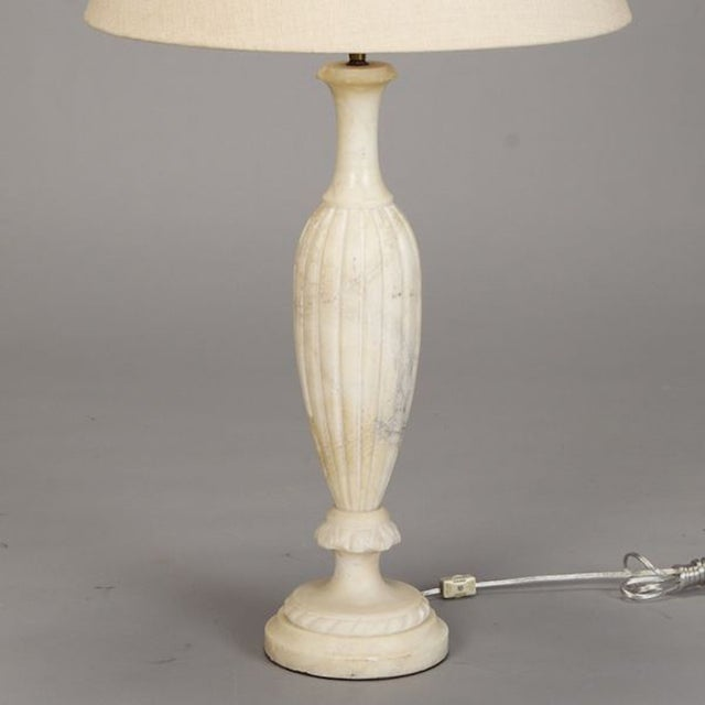 Tall French Slender Ridged Alabaster Table Lamp - Image 4 of 5