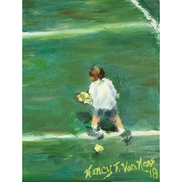 "Canvas ""The Tennis Game"" Original Oil Painting Framed Painting by Nancy T Van Ness For Sale - Image 7 of 13"