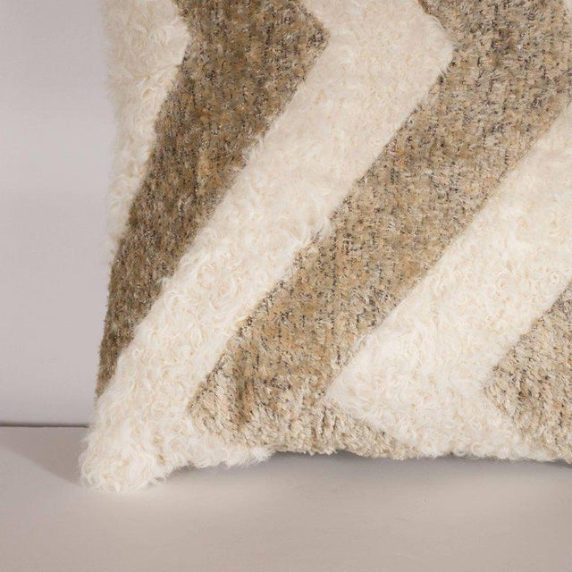 Textile Custom Designed Chevron Pillow in Champagne and White Mongolian Lambswool For Sale - Image 7 of 10