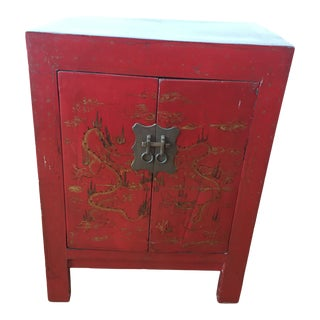 Chinese Lacquer Red Side Table With Dragon Motif For Sale