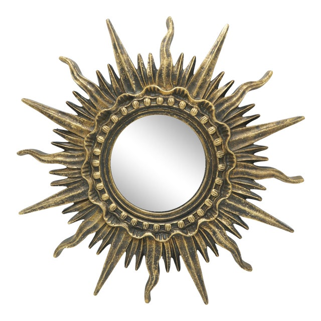 French Golden Gilt Sunburst Mirror For Sale