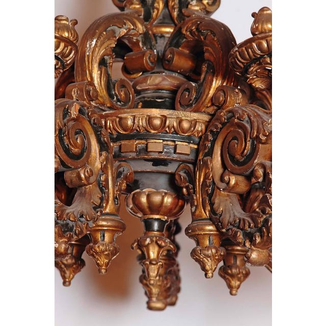 Italian Carved Wood Chandelier - Image 6 of 9