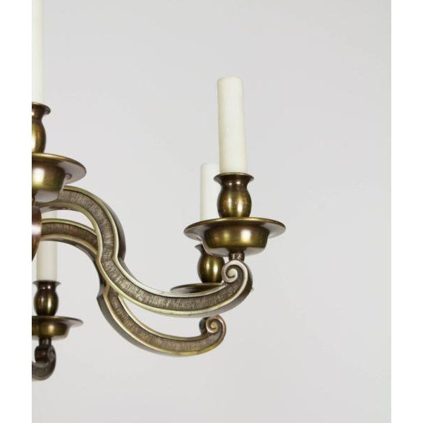 Eight Light Antique Brass Chandelier For Sale In Boston - Image 6 of 9