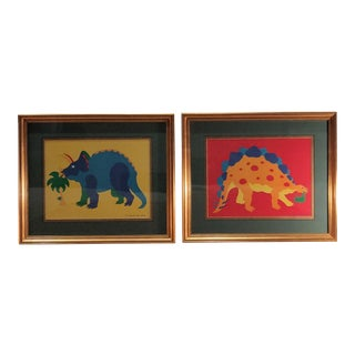 Framed Dinosaur Prints - A Pair For Sale