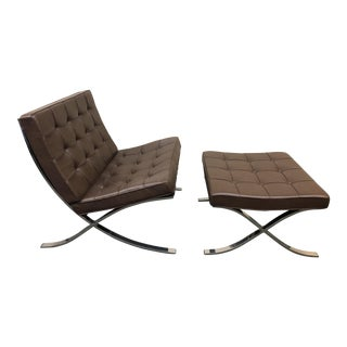 Knoll Barcelona Dark Brown Chair & Ottoman - a Pair