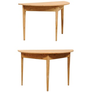 19th Century Wood Demilune Tables - a Pair For Sale