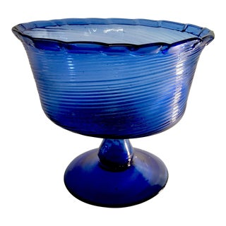 Large Hand Blown Swirled Cobalt Bubble Glass Centerpiece Pedestal Bowl