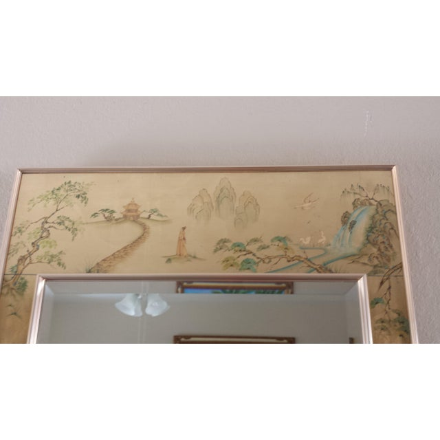La Barge Labarge Chinoiserie Eglomise Reverse Painted Gold Leaf Mirror For Sale - Image 4 of 11