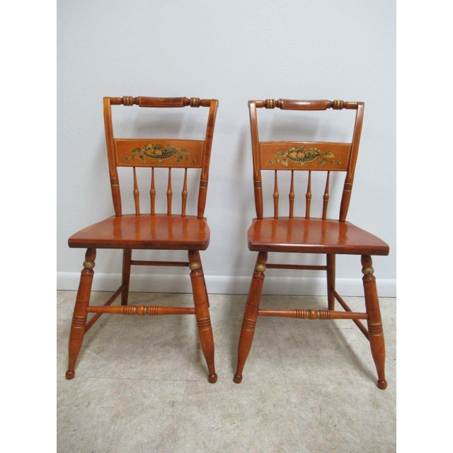 Bent Brothers Plank Bottom Hitchcock Style Dining Chairs - A Pair For Sale - Image 11 of 11