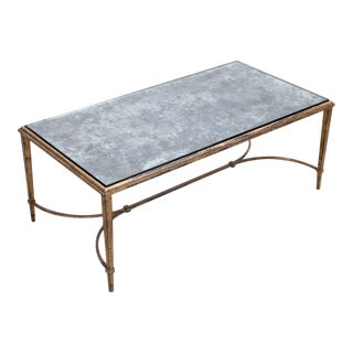 Rare Silver Plated Glass Maison Ramsay Coffee Table in Gold Leaf For Sale