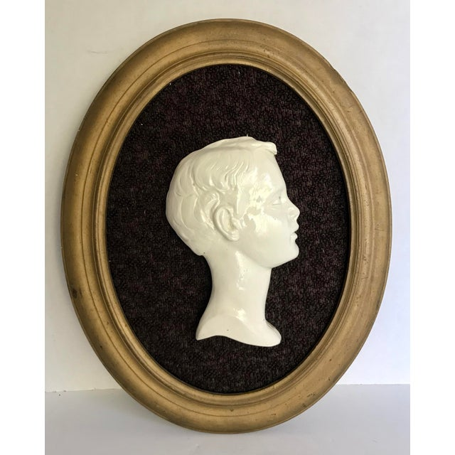 Mid 20th Century Vintage Framed Cameo Portrait Art of Young Boy For Sale - Image 5 of 5