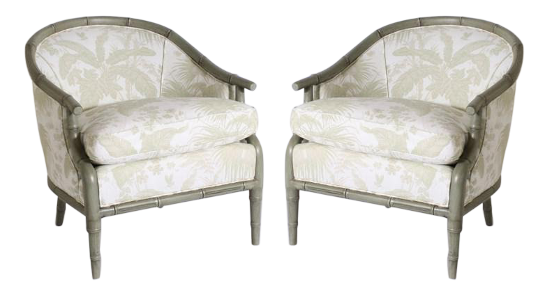Jan Showers Pair Of Faux Bamboo Chairs Upholstered In Jan Showers For  Kravet Fabric, C