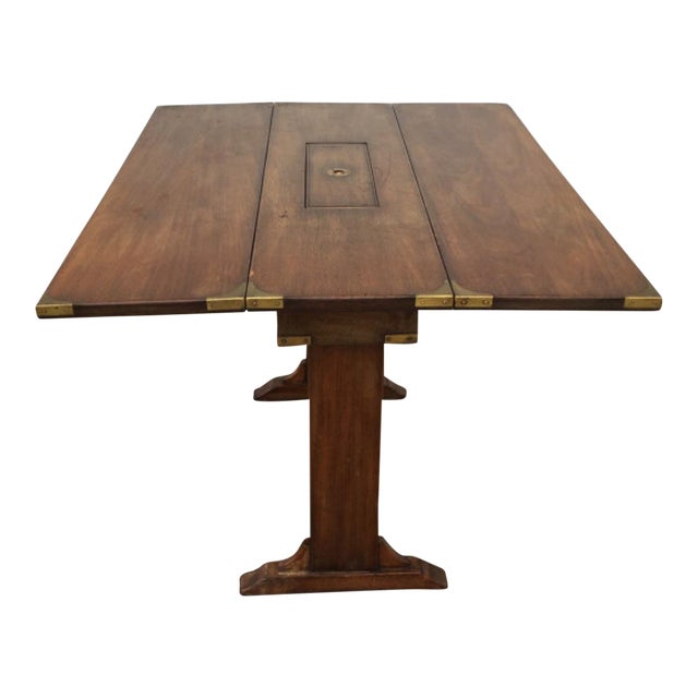 Vintage Campaign Style Drop Leaf Dining Table - Image 1 of 6