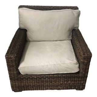 McCreary Modern Large Woven Rattan Armchair For Sale