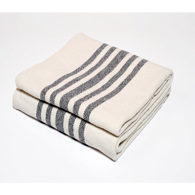 Contemporary Contemporary Multiple Stripe Cotton Throw For Sale - Image 3 of 3