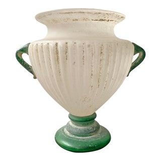 Grande Italian Murano Scavo Vase For Sale