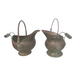 Antique Japanese Brass & Copper Water Pitchers - A Pair
