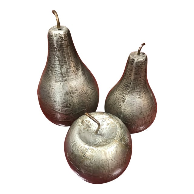 1970s Mid-Century Modern Decorative Silver Leaf Wood Fruits - Set of 3 For Sale
