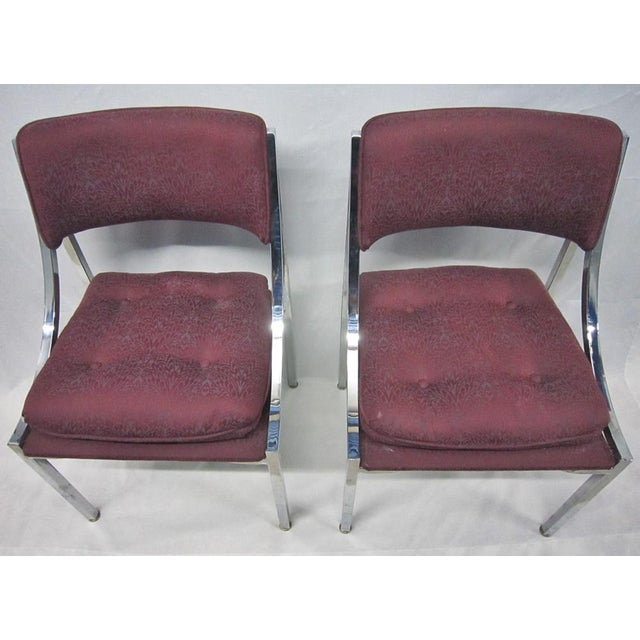 Hollywood Regency Milo Baughman Dining Chairs - A Pair For Sale - Image 3 of 7
