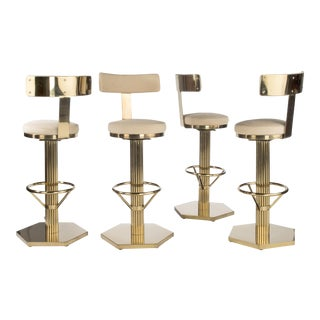 Hollywood Regency Style Gold Bar Chairs - Set of 4 For Sale