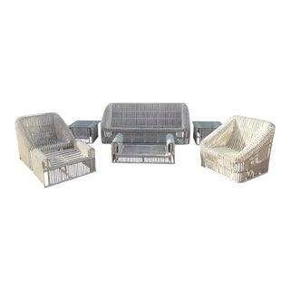 1970s Henry Olko Rattan Rib Series Living Room Set- 7 Pieces For Sale