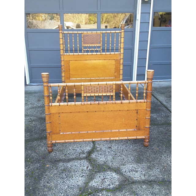 1940s 1940s Vintage Birdseye Maple and Faux Bamboo Bed For Sale - Image 5 of 6