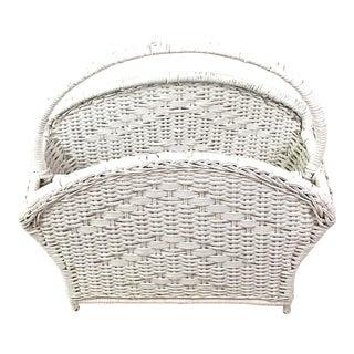 White Woven Handled Basket Magazine Holder For Sale