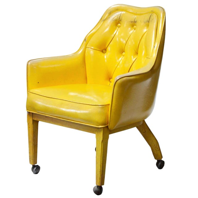 Lemon Yellow Vinyl Accent Chair - Image 1 of 10