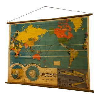 Vintage Australia-Centric Classroom World Map - For Sale