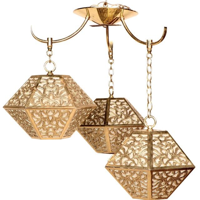 3-Tier Hanging Brass Chinoiserie Lamp - Image 1 of 5