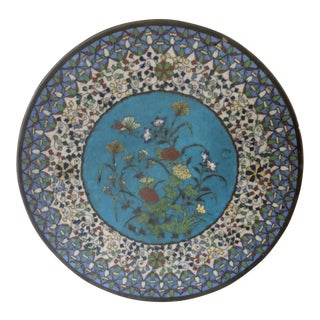 19th Century Japanese Cloisonne Bronze Floral Plate, Meiji Period For Sale