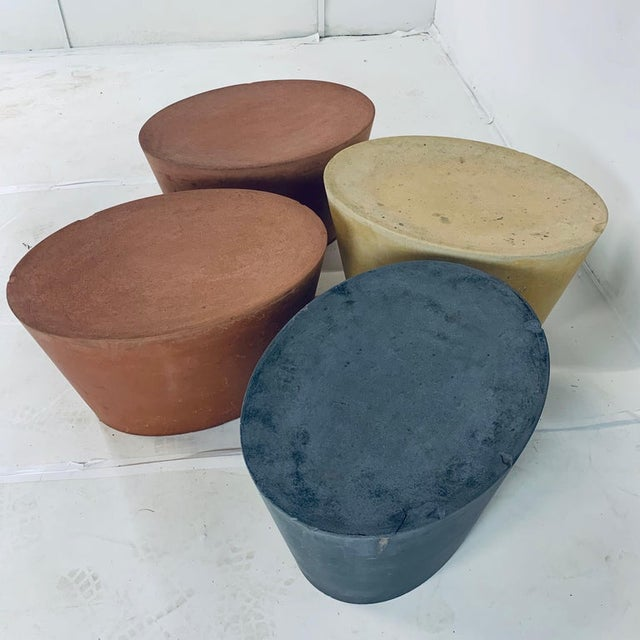Original Maya Lin for Knoll Studio Concrete Stone Garden or Gallery Stools - Set of 4 Various Colors For Sale - Image 10 of 13
