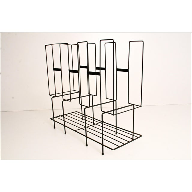 Mid-Century Modern Black Wire Record Rack For Sale - Image 6 of 11