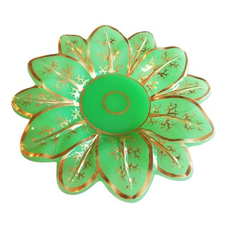 Antique French Green Opaline Bowl For Sale