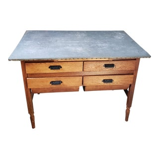 19th Century Country Hoosier Tin Topped Grain Bin Table For Sale