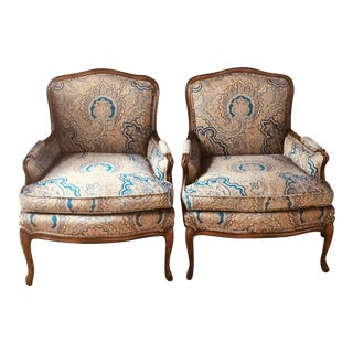 Vintage Nyc Paisley Bergere Chairs - a Pair