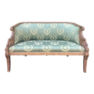 Antique Empire Style Settee W Green Scalamandre Fabric For Sale