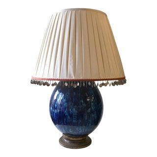 1970's Vintage Ceramic Blue Glazed Lamp For Sale